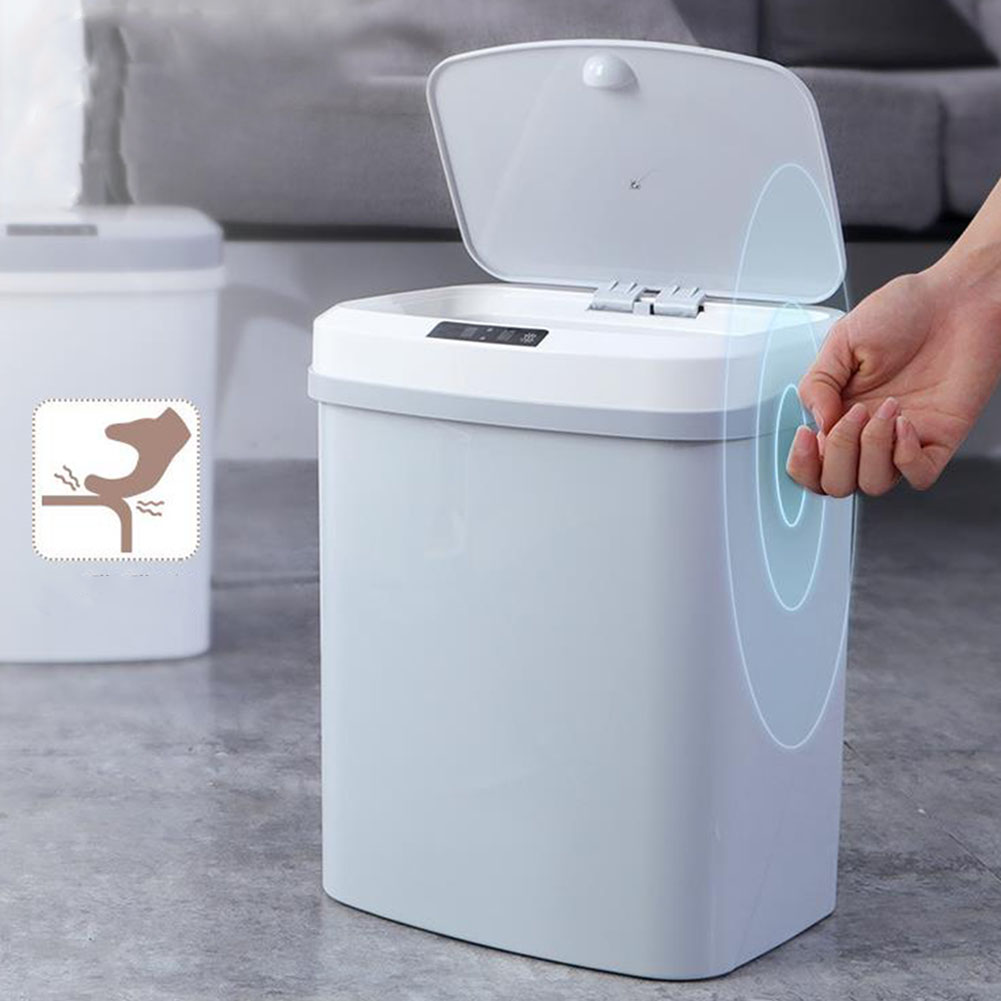 Cover Battery Powered Trash Can Large Capacity Electric Waste Bin Home Tap Silence Smart Infrared Induction Kick Kitchen ABS
