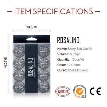 ROSALIND 12PCS/SET Shiny Silk Gel Nail Polish Manicure Kit Nail Art Design  Hybrid Glitter Platinum Gel Lacquer Top Base Coat 5