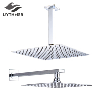 "Chrome Polish 8""/10""/12"" Square Rainfall Shower head Bathroom Ultrathin Rain Shower Head with Shower Arm Faucet Accessories"