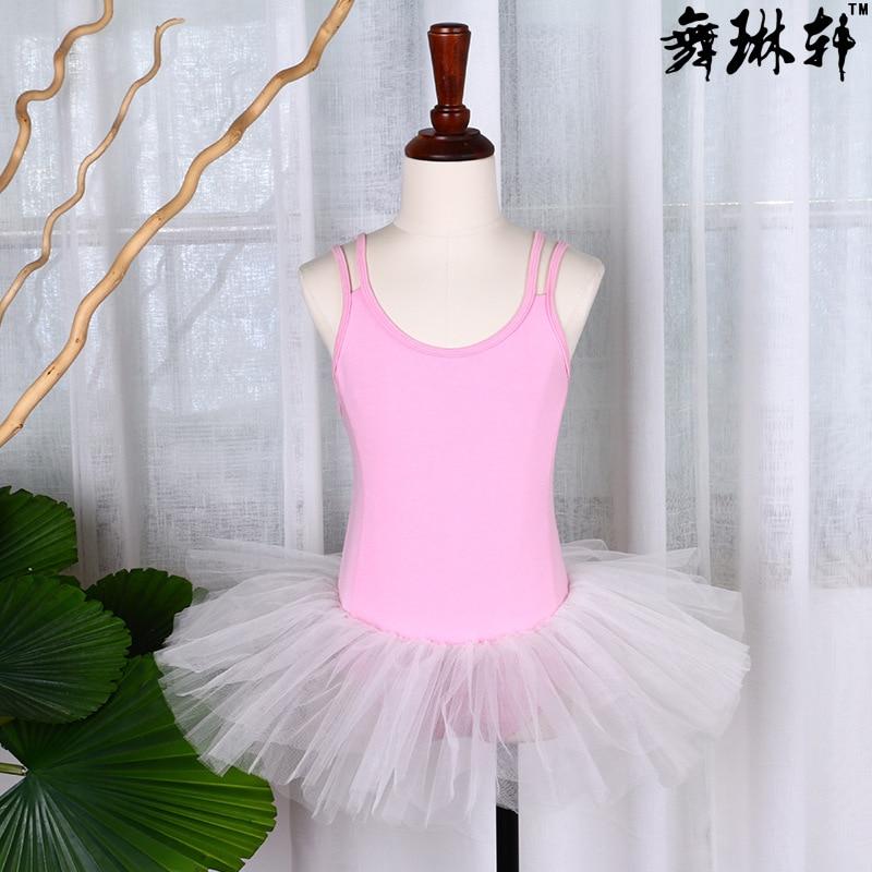 Летняя одежда для упражнений для девочек, крест двойной ремень, балетное платье, Сетчатое платье, одежда для латинского танца, на заказ - Цвет: Light Pink