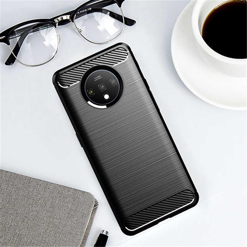 Hohe Qualität Telefon Fall Für OnePlus 7 7T Pro Leichte Wasserdicht Faser Carbon Weiche TPU Zurück Fall Abdeckung für OnePlus 7 7T