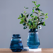 Creative Pleated Blue Glass Vase Home decoration Living Room Table vase Decoration ornaments Home Flower Arrangement container thicken glass small vase home decoration creative glass vase hydroponic flower arrangement living room decoration mini vase