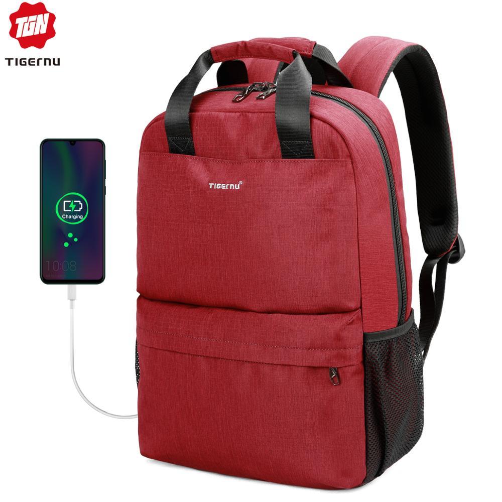 Tigernu Brand Casual Fashion Women USB Charging School Backpack Feminine 15.6 Laptop Backpacks For Teenage Girls Mochila