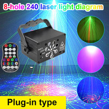 240 Patterns RGB Stage Light USB Voice Control Disco Light Party Show Laser Projector Effect Lamp for Home Party KTV