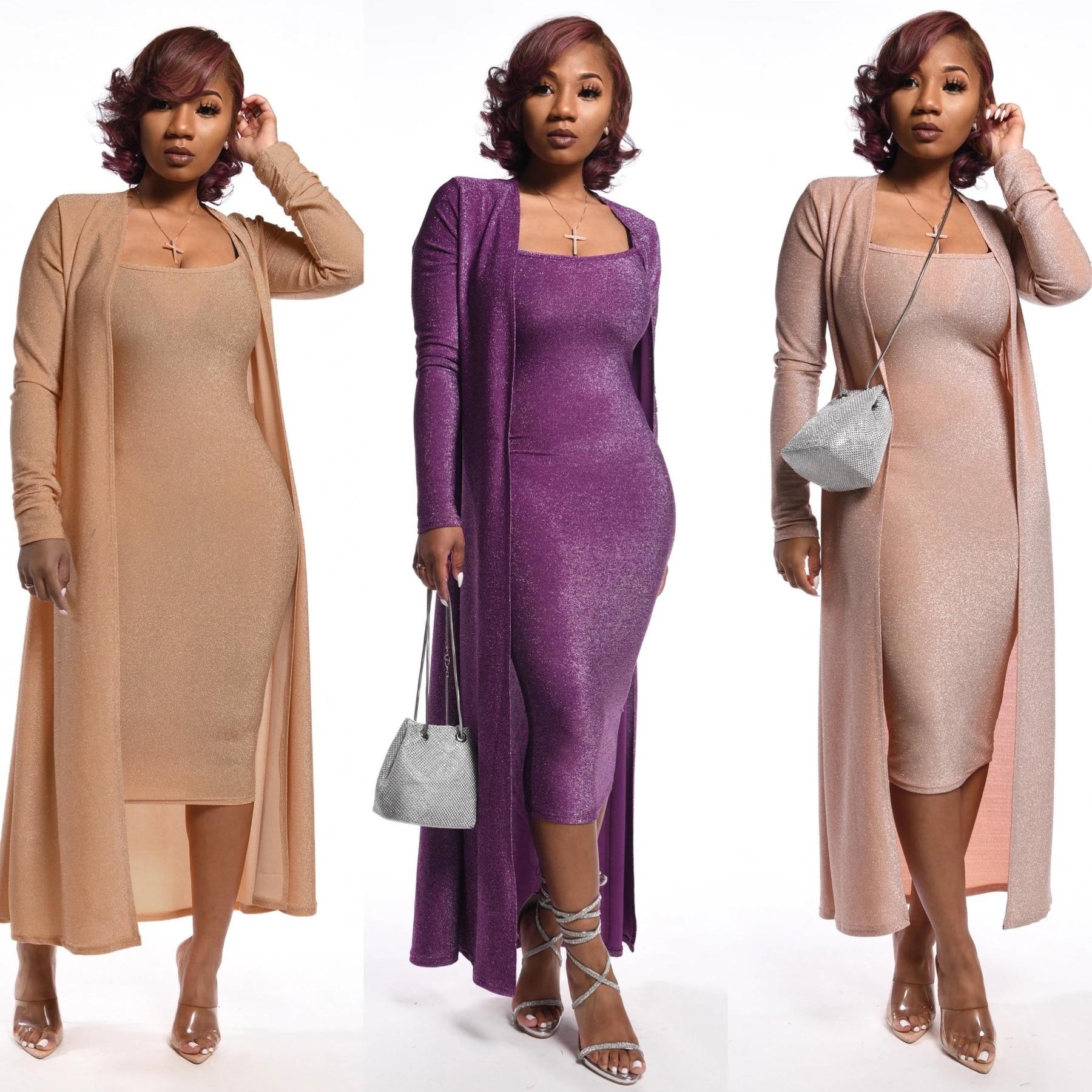 2 Piece Set Dress 2020 New African Fashion Long Coat Two Piece Bazin Suit Big Elastic For Lady