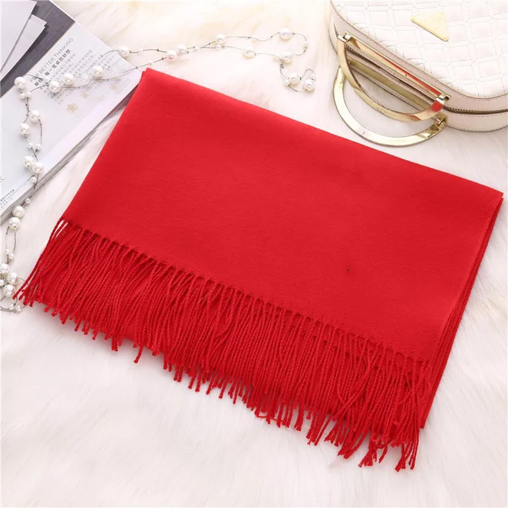 New Women Solid Color Cashmere Wool Scarf Classic Soft WRAP Comfortable Trend Warm Big Scarf