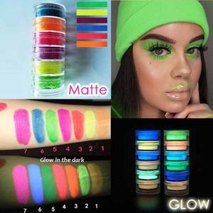 1PC Makeup Fluorescent Neon Pigment Eye Shadow Makeup Palette Glow In Dark Eye Shadow Glitter Eyeshadow Cosmetics(China)