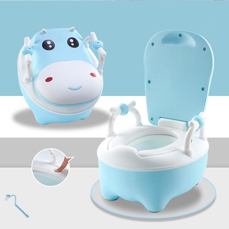 Baby Potty Toilet Bowl Baby Training Potty Seat Cute Cartoon Cow Shaped Children's Travel Potty Portable Children's Pot