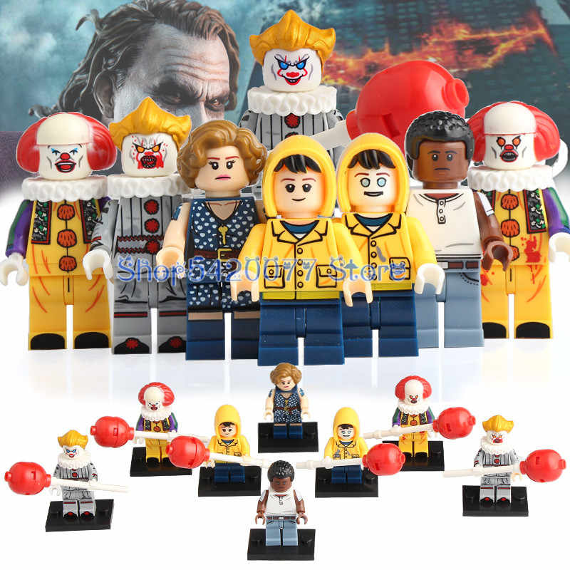 Horror Movie Pennywise Clown George Beverly Chosen Jacobs Figures Bricks Building Blocks Toys Gifts KT1012