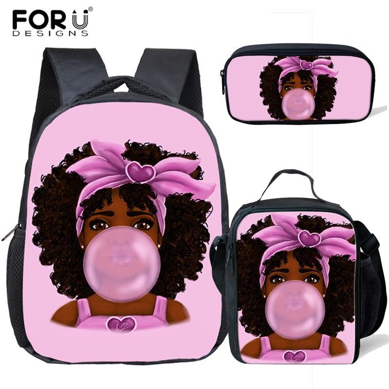 3pcs/set Small Kindergarten African Art Afro Girl Backpack Children School Bags Kids Schoolbag Baby Toddler Bag Mochila Infantil