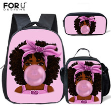 3pcs/set Small Kindergarten African Art Afro Girl Backpack Children School