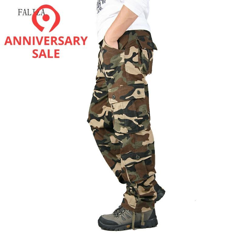 High Quality Men's Cargo Pants Camouflage Loose Fit Men Pants Military Multi Pockets Large Size Army Straight Trousers Male P103
