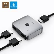 Adaptador convertidor multifunción YouPin HAGIBIS HDMI, conmutador divisor HDMI de doble vía 4K 1080P HDTV para compute TV box