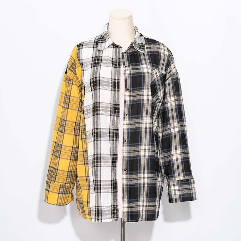 Honesty Allkpoper Kpop Plaid Shirt Women Bangtan Boys Suga Blouse Korea Fashion Plus Size Casual Spring Autumn Splice Shirts