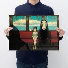 Room decoration anime movie Chihiro Miyazaki poster kraft paper cafe bar retro decorative painting art wall sticker