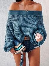 2019 Autumn Women Elegant Solid Casual Sweater Female Winter Brief Warm Leisure Sweater Off Shoulder Bishop Sleeve Sweater Top