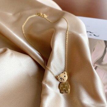 Moda coreana sencilla collar de oso de acero inoxidable de titanio para...
