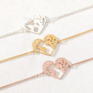 Minimalism Heart Shape World Map Bracelets For Women Globe Travel Jewellery Stainless Steel Earth Bracelet Femme Bridesmaid Gift