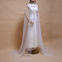 TRiXY G16 Women's Long Train Shawls Elegant Long Capes for Wedding White simple Lace up Bridal Shawls Wraps for Evening Party