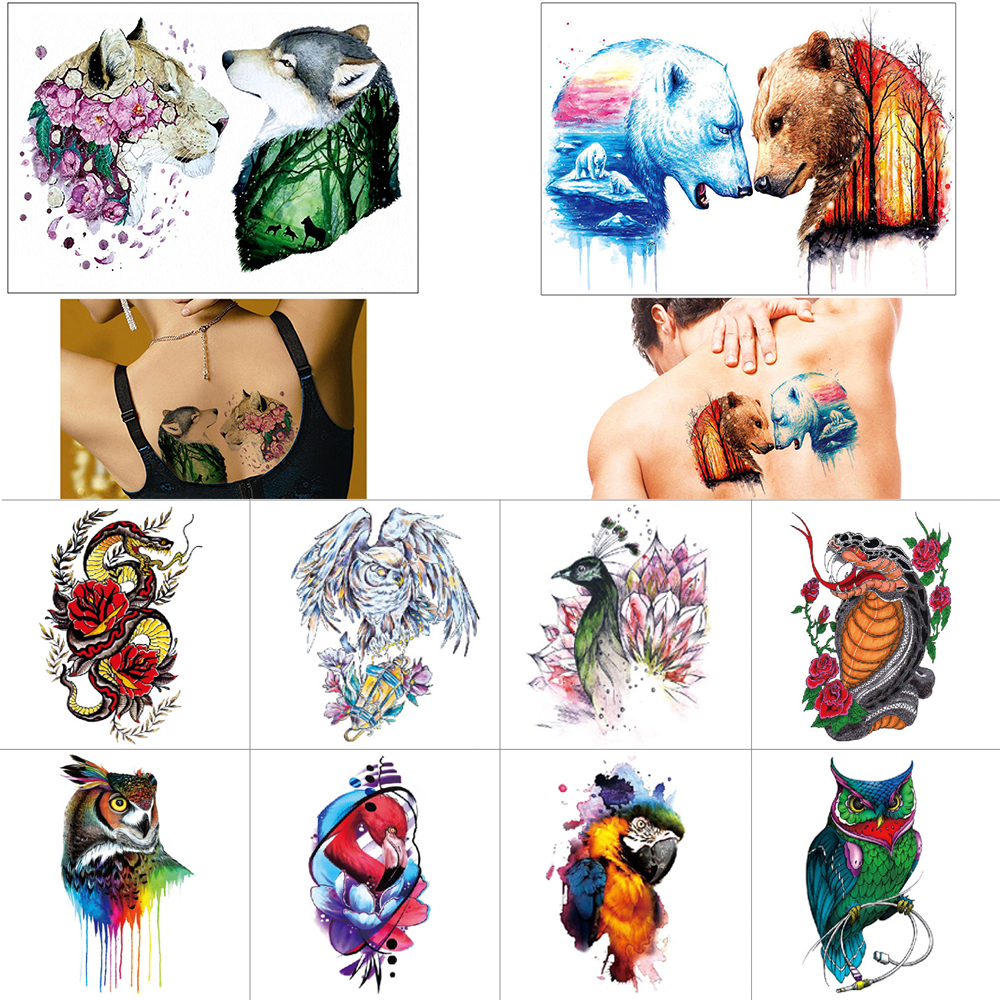 Body Art Tattoo Stickers Owl Bird Temporary Tattoo Snake Fish Waterproof Fake Tattoo Animal Color Tattoo Stickers
