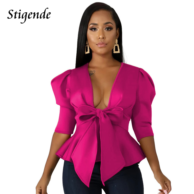 Stigende Autumn Deep V Neck Ruffle Bow Blouse Women Casual Long Sleeve Plain Cropped Blouse Shirt Elegant Solid Bandage Shirt