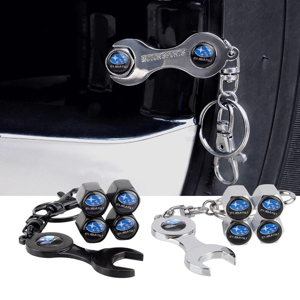 4Pcs/set Wheel Tire Valve Stems Cap Stainless Steel For Subaru Forester XV Outback Impreza Legacy STI With Mini Wrench Key Chain
