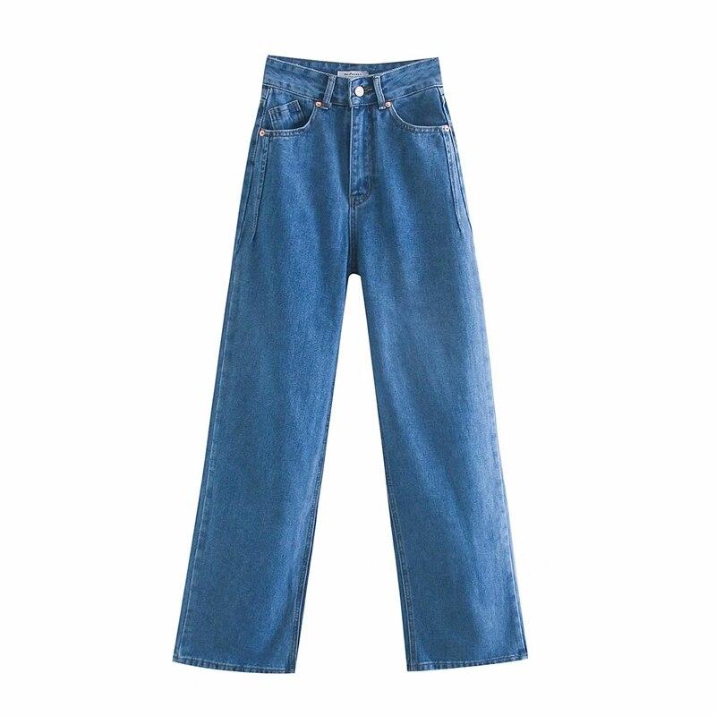 Tangada 2020 women high waist overlength jeans pants trousers pockets zipper female wide leg denim pants 4M520 5