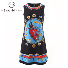 SEQINYY Black Vest Dress 2020 Summer Spring New Fashion Design Women Flowers Printed Blue Crystal High Quality Mini