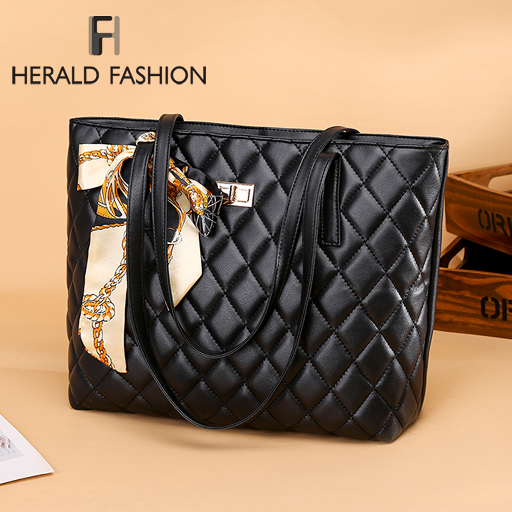 Herald Fashion Women Large Shoulder Bag Travel Bags Leather Pu Quilted Bag Female Luxury Handbags Female Bags Design For Girls