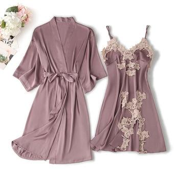Autumn Summer Women Satin Robe & Gown Sets Sexy Lace Sleep Lounge Silk Nightwear Bathrobe+Sling Nightdress Robe sets Chest Pads