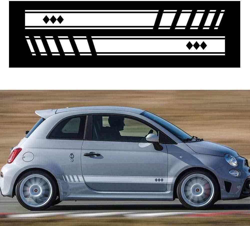 Autocollant 2 pièces pour jupe de voiture latérale, décalque de voiture, en vinyle, blanc, accessoire stylistique (L + R), pour Abarth FIAT 500, T-02
