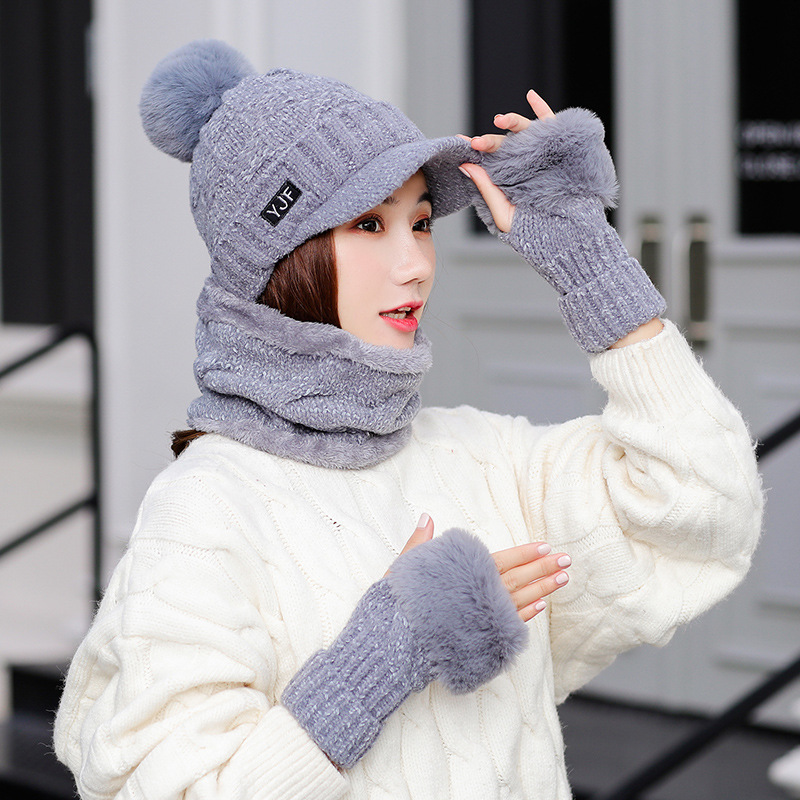 Winter Hat Scarf And Gloves For Women Girl Knitted Hat Ring Scarf Cotton Wool Skuiless Beanie Female Cap And Scarves Keep Warm