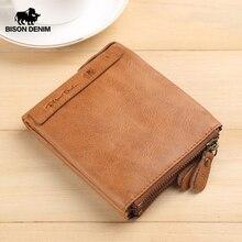BISON DENIM Men portfele skóra bydlęca portfel męski krótki moneta torebka Vintage Zipper portfel marki portfel z saszetką na karty W4403