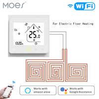 Wifi termostato controlador de temperatura lcd touch screen backlight para aquecimento elétrico funciona com alexa google casa 16a