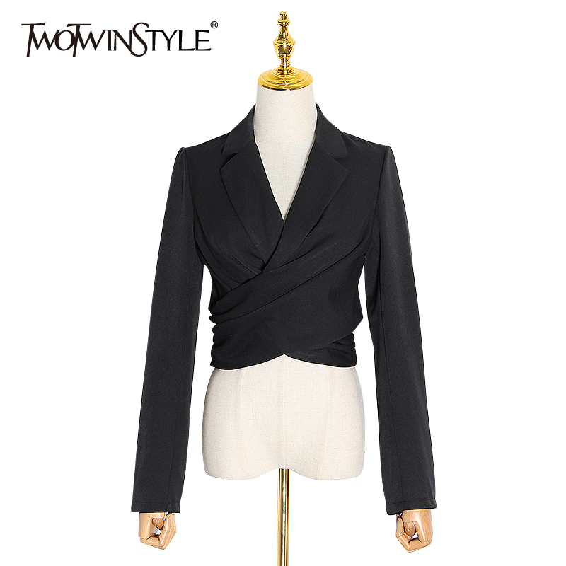 TWOTWINSTYLE Elegant Lace Up Women Blazer V Neck Long Sleeve High Waist Casual Ruched Suit For Female 2020 Fashion Clothing Tide