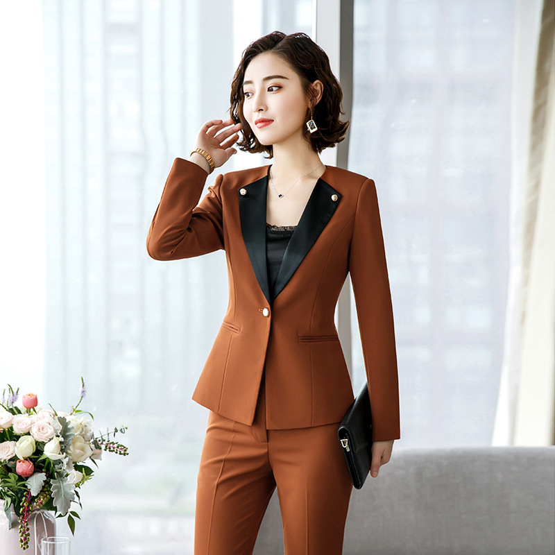 Long Sleeve Business Suit WOMEN'S Dress Suit Formal Wear Spring And Autumn Korean-style Fashion Suit Formal Wear Beautician Hote