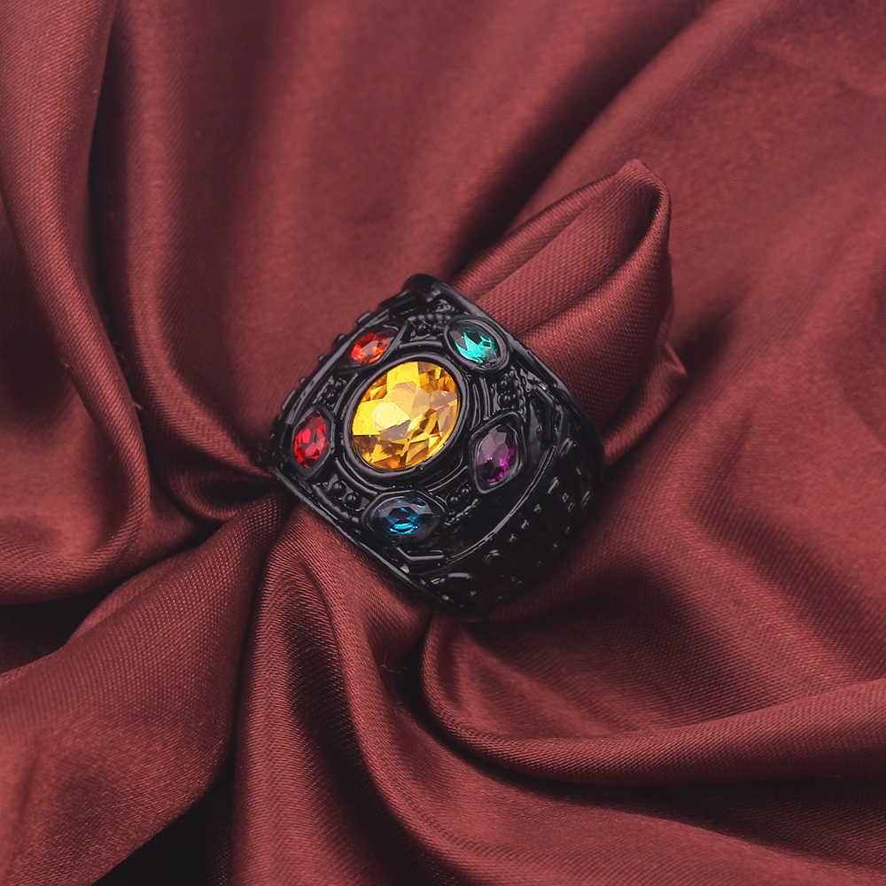 3 cores Vingadores Marvel Thanos Gauntlet Luva Anéis de Poder Infinito Anel Anel de Cristal para Homens Homens anel infinito Infinito Guerra