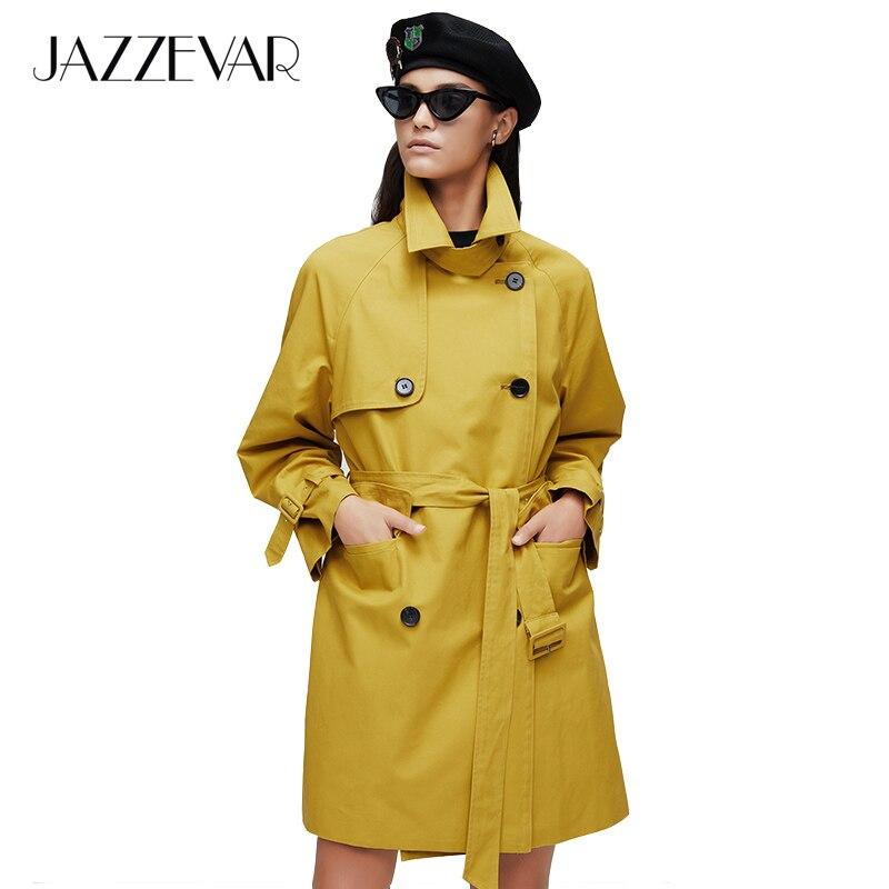 JAZZEVAR 2019 Nieuwe collectie herfst trenchcoat vrouwen top geel lange katoenen uitloper losse kleding met riem nieuwe mode jas 9027-in Loopgraaf van Dames Kleding op  Groep 1