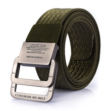 New Military Equipment Tactical Belt Man Double Ring Buckle Thicken Canvas