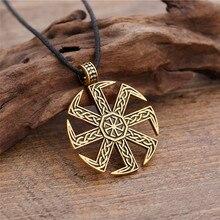 Dawapara eslava kolovrat símbolo pagão jóias roda amuleto pingente eslava colar