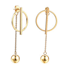 Earring For Women Beautiful Geometry Beads Round Gold Silver Fashion Stainless Steel Jewelry Woman accessories drop earrings(China)