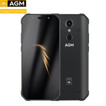 "AGM A9 IP68 مقاوم للماء جوّال المهامّ الوعرة 5.99 ""HD 18:9 4GB 32GB 64GB ROM SDM450 ثماني النواة 5400mAh بصمة نوع C NFC"