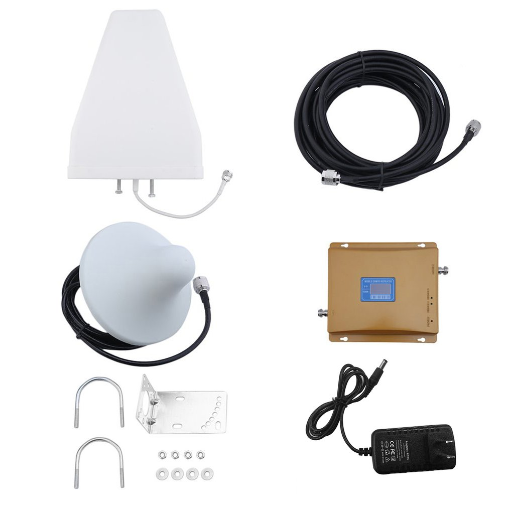 900Mhz/2100MHZ GSM/3G Dual Band LCD Display Mobile Cell Phone Signal Amplifier Phone Signal Booster Repeater Set