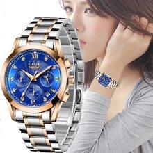 Часы наручные lige женские золотистые креативные водонепроницаемые