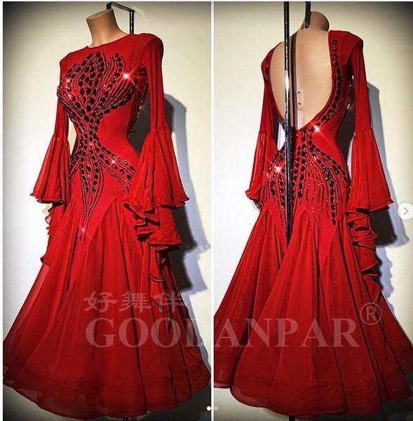 Ballroom  Competition Dance Dresses NEW Design Woman Modern Waltz Tango Dance Dress Standard Sexy Dress  Flare Sleeve Red Stones
