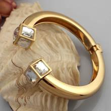 Alloy Bangles Bracelets Women Metal Charm Geometry Statement Cuff Fashion Jewelry Golden Silver Color