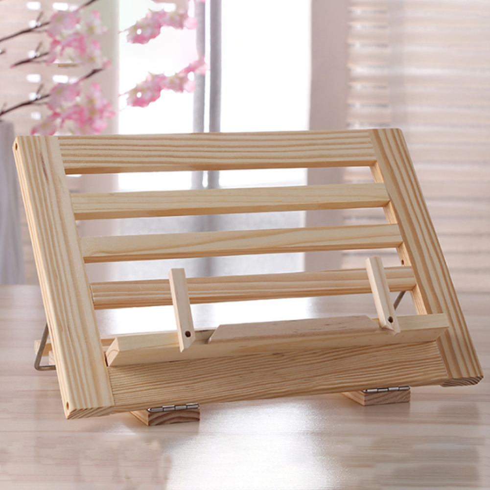 Cook Reading Stand Rest Rack Non-toxic Lightweight Kitchen Portable Wooden Frame Book Holder Foldable Home Adjustable Angle