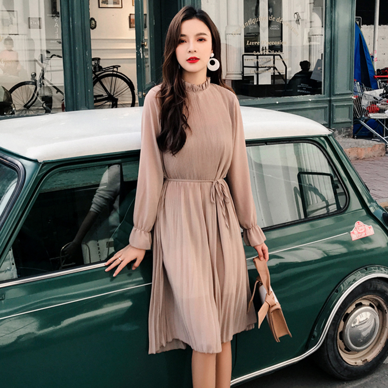 Women Two Layers Chiffon Pleated Dress 2020 Spring Autumn Female Vintage Elegant Long Sleeve Loose Casual Office Lady Dress
