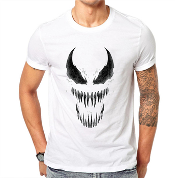 Men T Shirt Venom Spiderman Black and White Badass Hip Hop Tee Tshirt Mens T shirts Fashion 2018 Camiseta Hombre