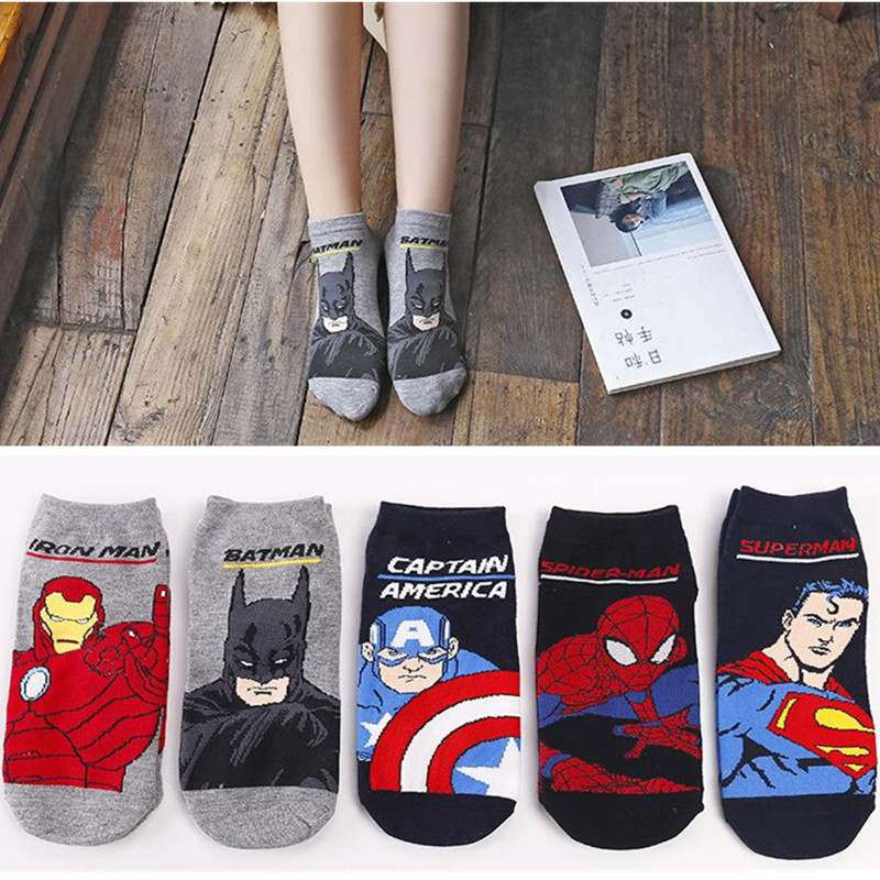 Marvel Cartoon Unisex Socks Slippers Fun Superman Spiderman American Captain Iron Man Batman Ankle Socks Fashion Cool Socks